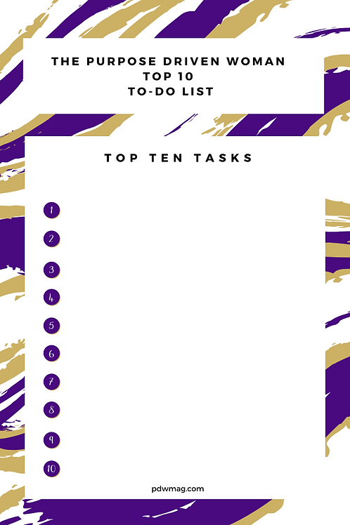 The Purpose Driven Woman Top Ten List