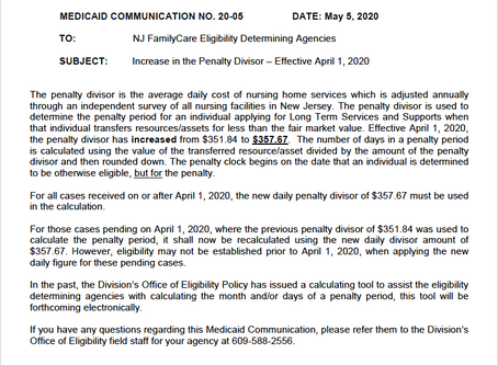 New Jersey Medicaid Updates Penalty Divisor, Effective April 1, 2020