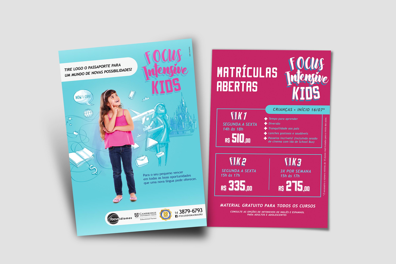 Flyer com informações de matrícula