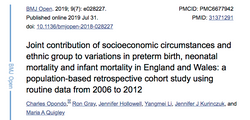 Joint contribution of socioeconomic circumstances and ethnic group to variations in preterm birth, n