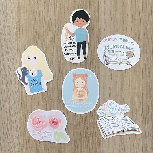 Lot de 6 stickers mats