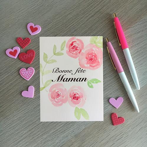 """Carte aquarelle """"fête des mères"""""""