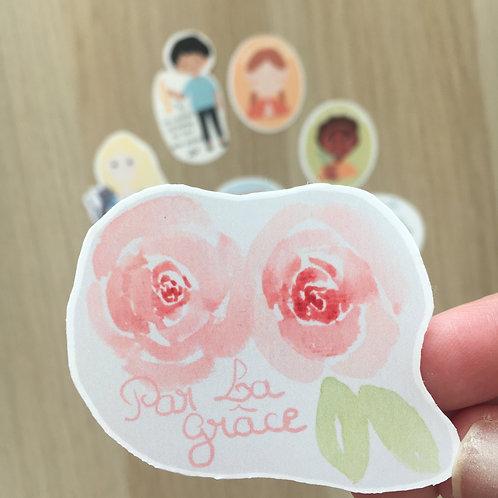 """Sticker """" par la grâce"""""""
