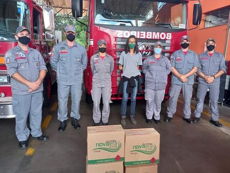 Destilaria Nova Era doa 180 litros de álcool 70% ao Corpo de Bombeiros de São Carlos