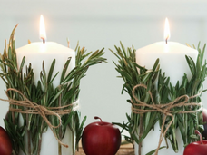 DIY Christmas Centerpiece with Candles and Pine Cones