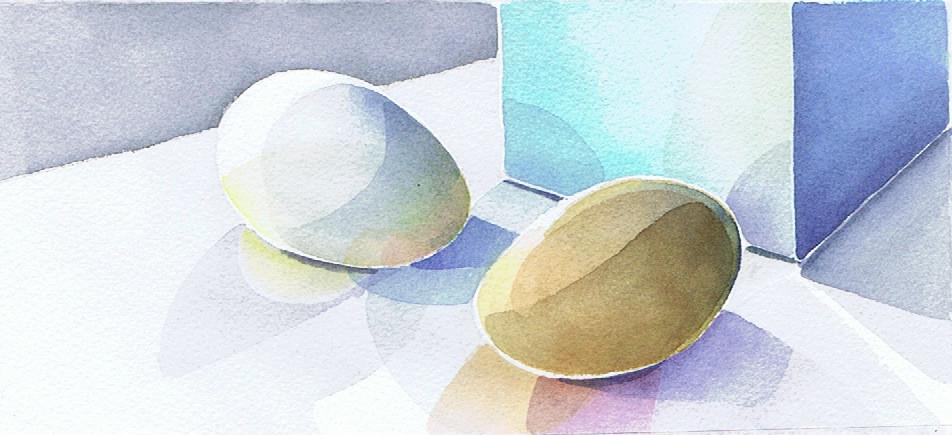 1 weisses und ein braunes Hühnerei nehmen die jeweilige Farbe des anderen auf.Farbe