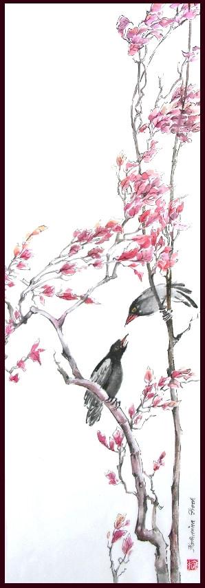 zwei Vögel sitzen sich auf einem Baum gegenüber, eifrig ins Gespräch vertieft
