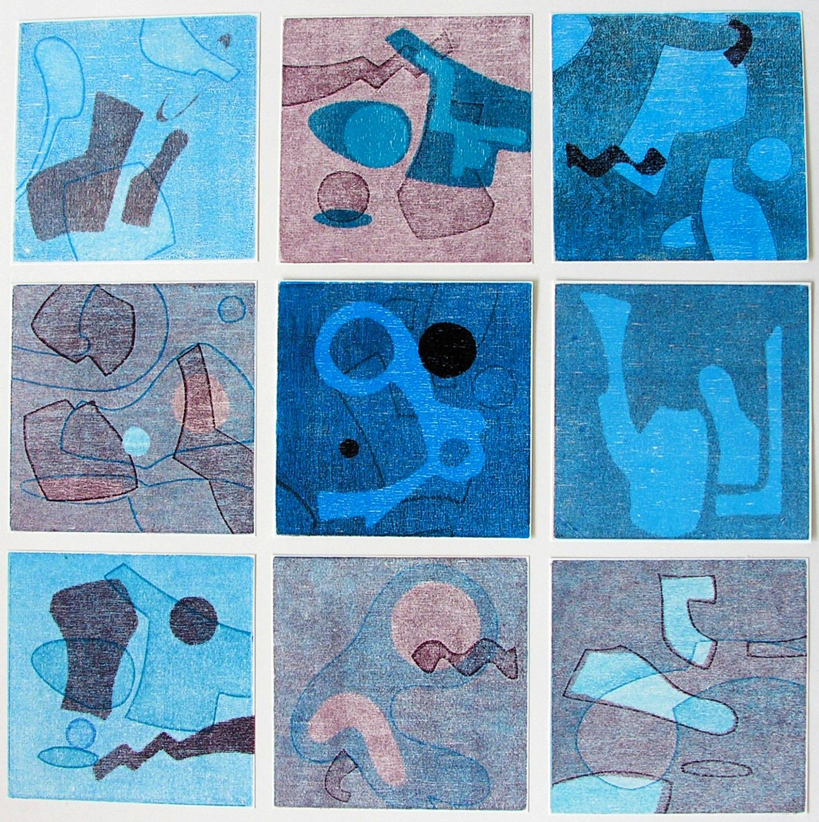 Collage in blau  50 x 50 cm