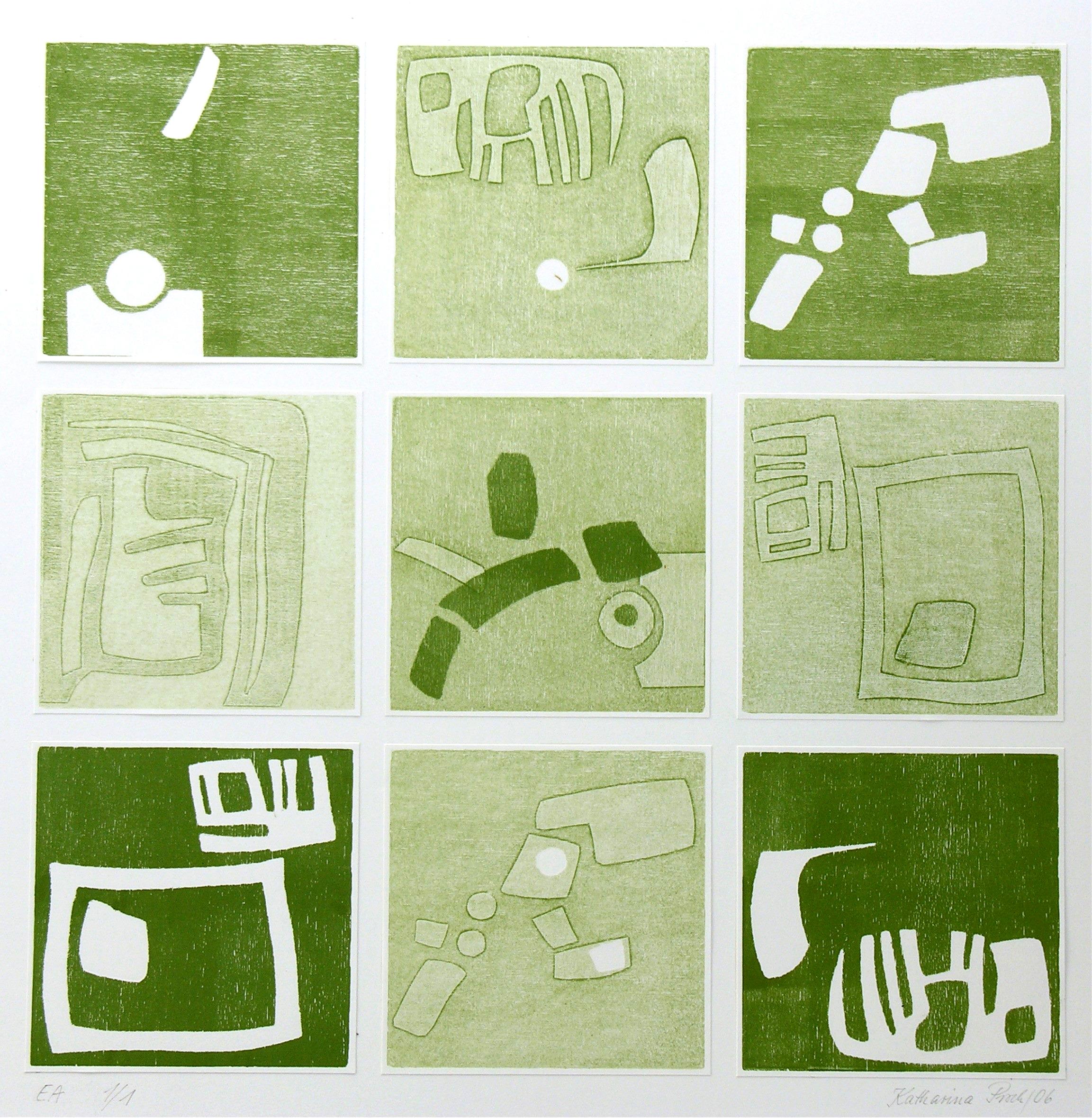 Collage in Grün 50 x 50 cm