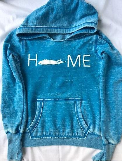 womens home hoodie in blue