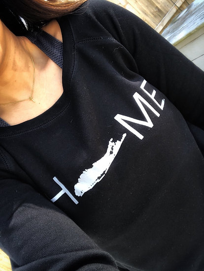 women's slouchy sweatshirt in black with gray print