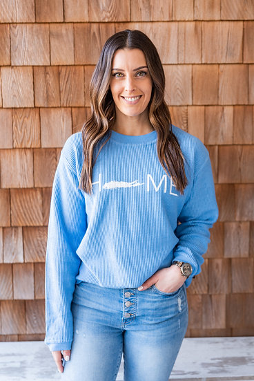 women's cord crew with distressed print
