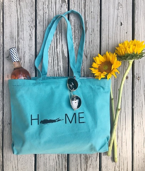 peacock blue beach tote with black print