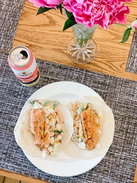 Rainbow trout fish tacos with Cowbell's pomegranate honeysuckle beer
