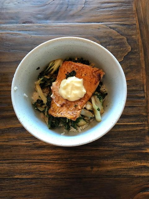 Pan-seared trout with ginger, green onion basmati rice, and honey garlic glazed bok choy
