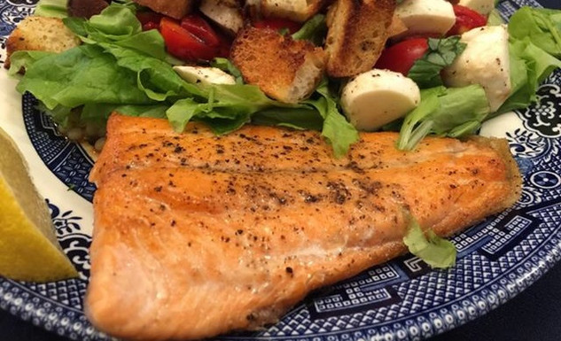 Pan-fried trout with caprese salad and Israeli couscous