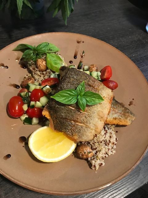 Pan-seared Springhills trout with caprese salad
