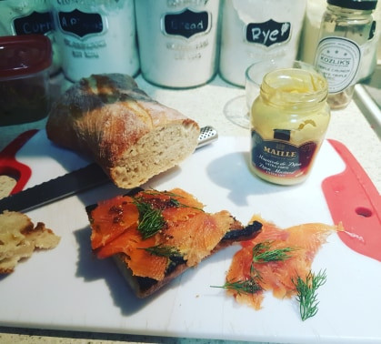 Home-made trout gravlax