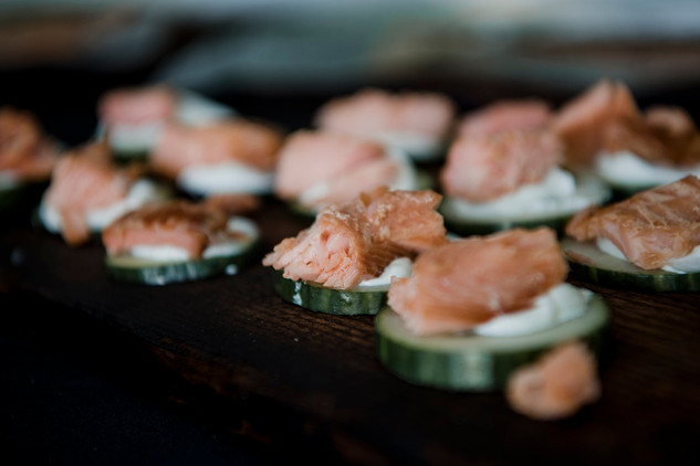 Springhills smoked trout with cream-cheese on cucumbers