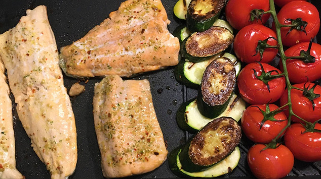 Barbecued guacamole trout with blistered tomatoes and zucchini