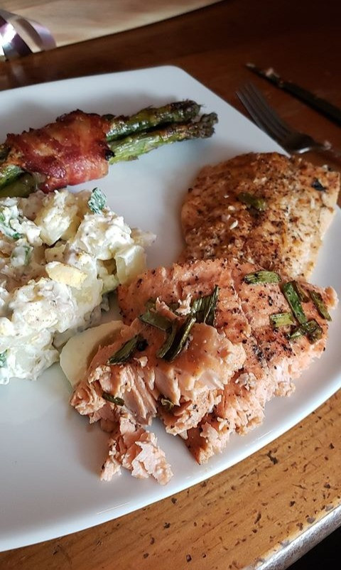Maple balsamic baked trout and lemon baked char