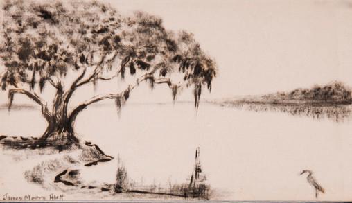 Oak Tree and Heron