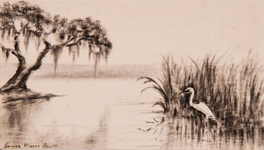 Oak Tree and Egret