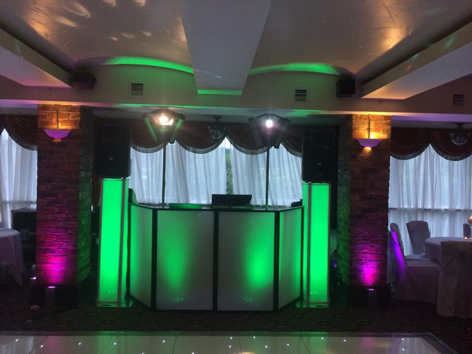 Pink uplighting for a wedding Disco