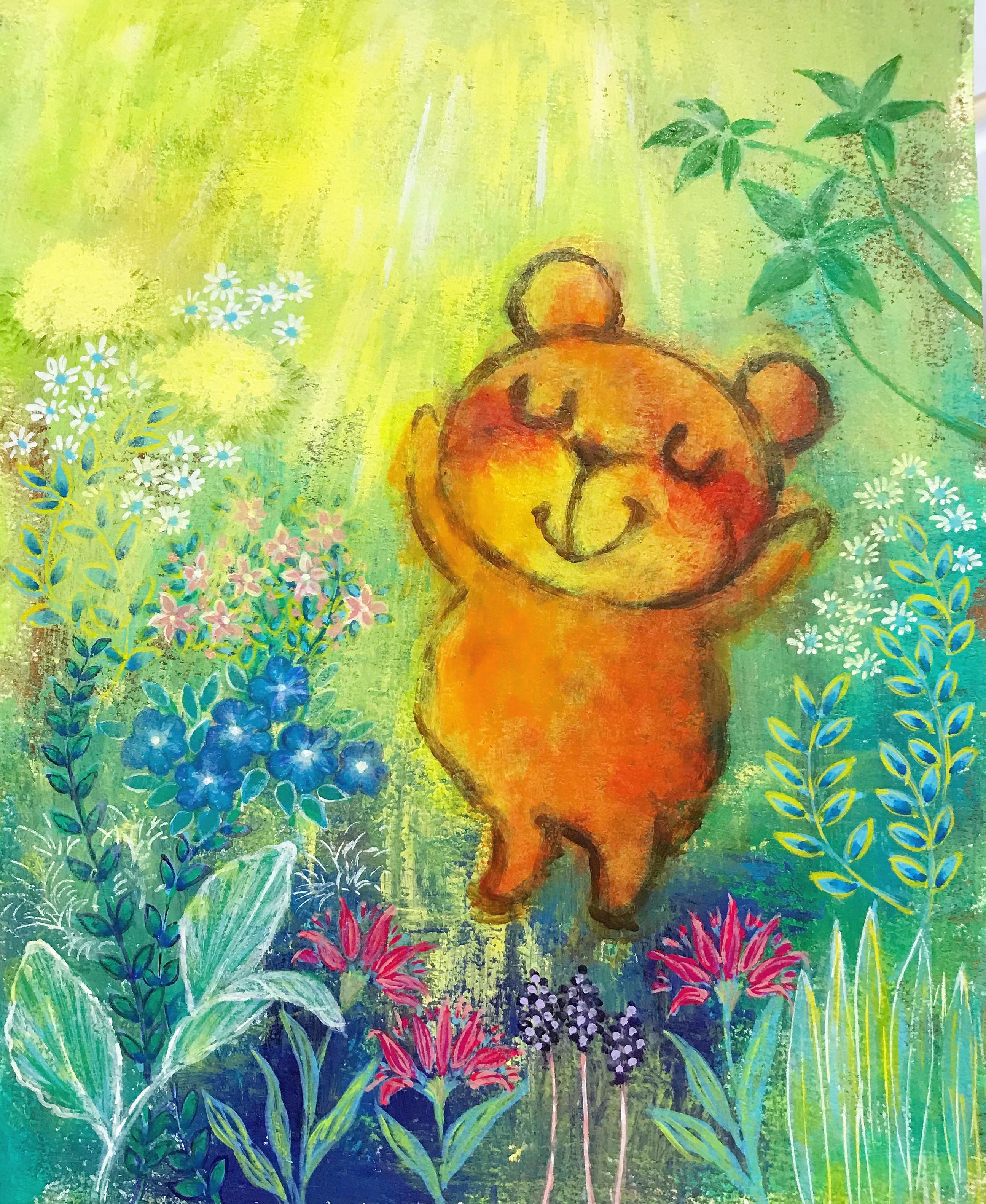 太陽をあびる熊