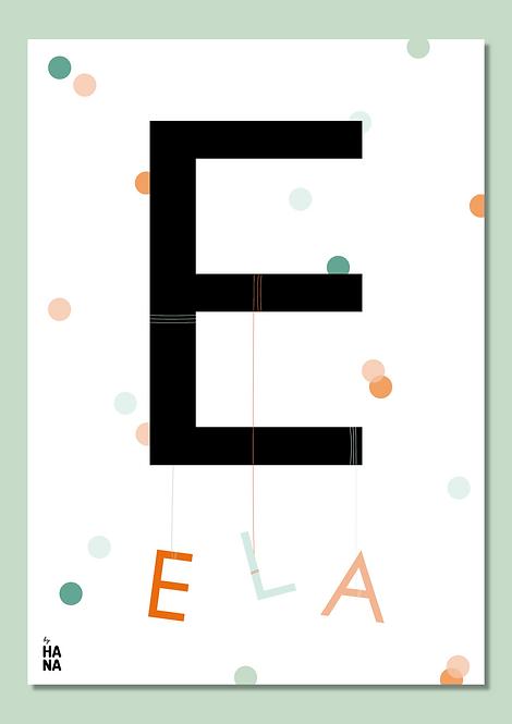 Personalizovaný plagát s menom - bodky / Personalized name poster - dots