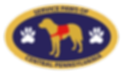 Service Paws Of Central PA Logo Service Dog in Center of oval with two paws on each side