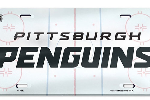 Pittsburgh Penguins License Plate - Crystal Mirror