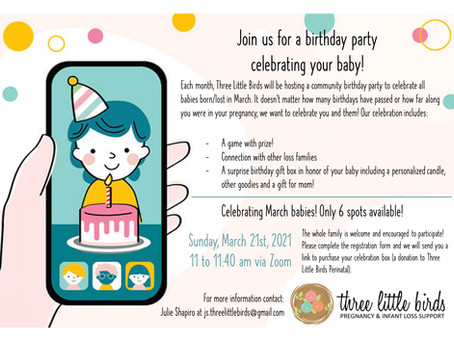 YOU'RE INVITED! Join us for our Virtual March Birthday Party!