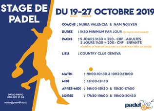Stage de Padel 19-27 Octobre