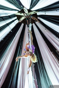 Circus aerialist performing