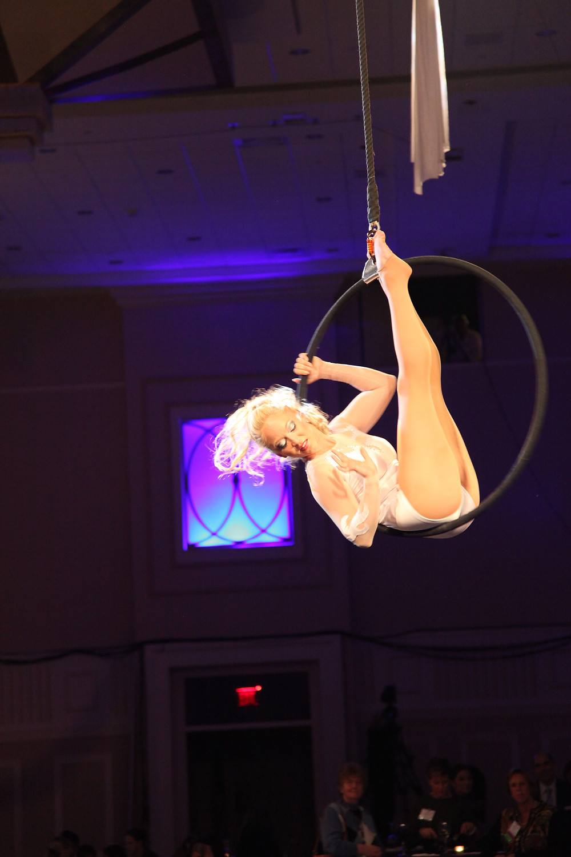 Aerial hoop performer, lyra performance, corporate event