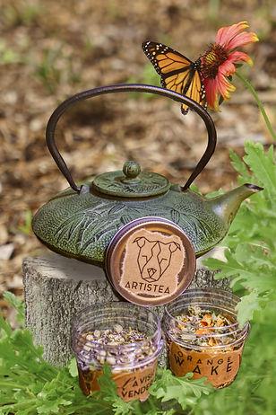 tea set, butterfly garden, composite image