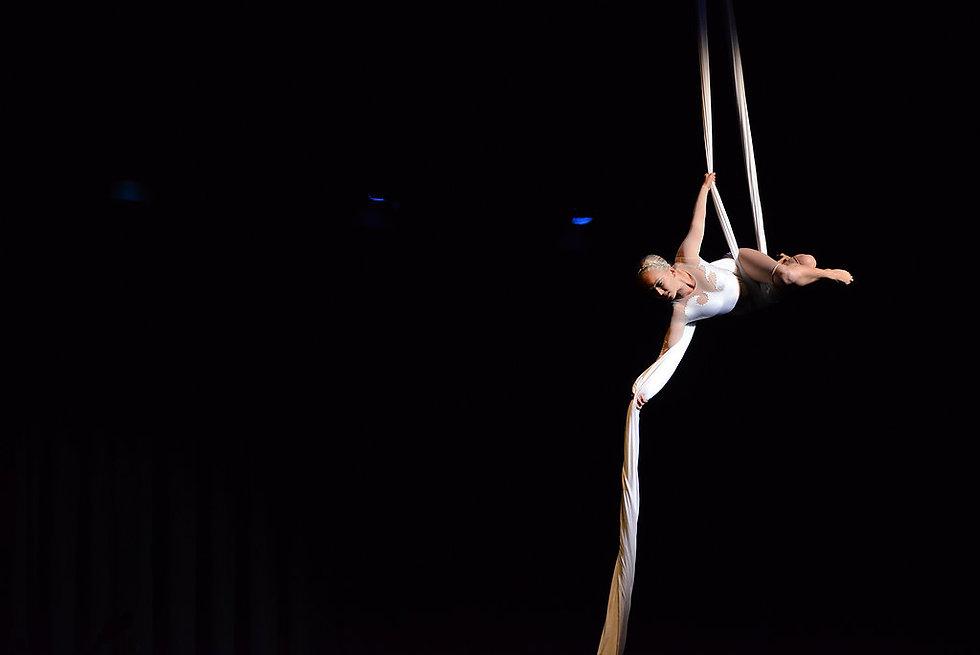 Circus performer, acrobat on aerial silks, elegant aerialist in white costume