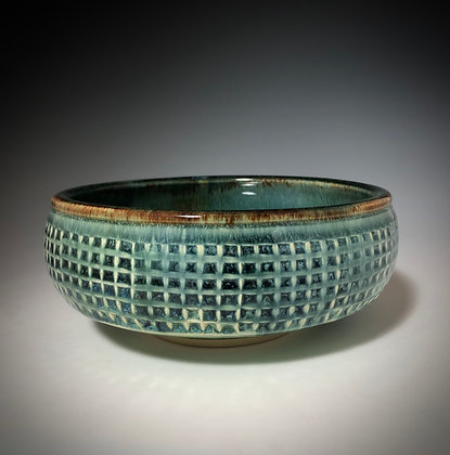 Square Textured Blue Bowl