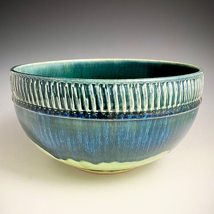 Textured Band Blue Green Large Bowl 2
