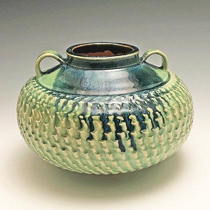 Textured Blue & Green Vase