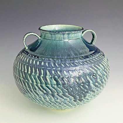 Textured Blue & Green Globe Vase