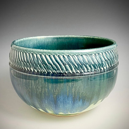 Textured Band Blue Green Large Bowl