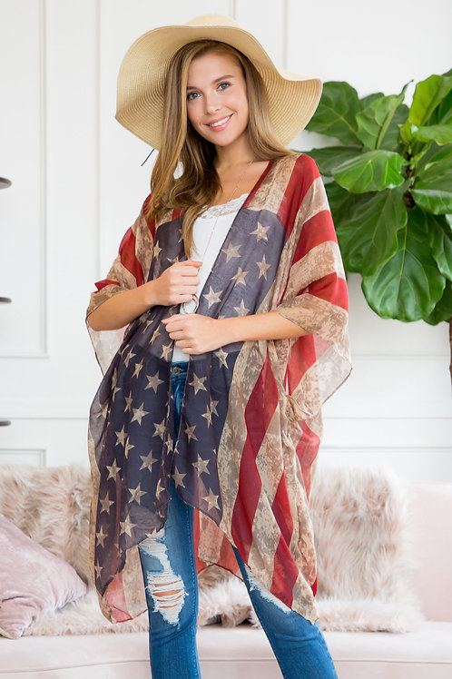 Hdf2219/Ksf154-Red Striped Stars Open Front Scarf Cardigan