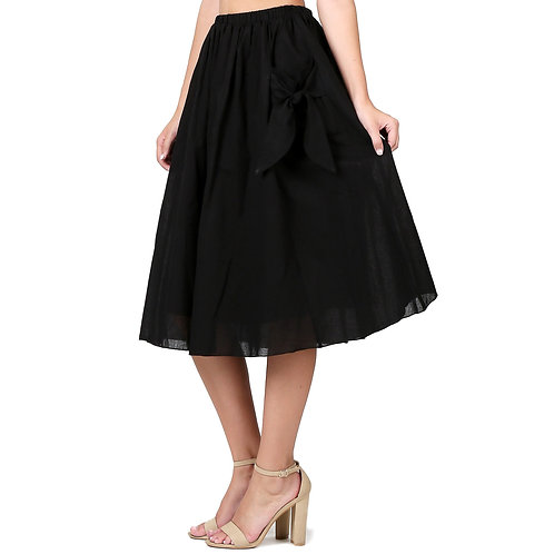 Cotton A Line Skirt with Front Pockets and Ribbon