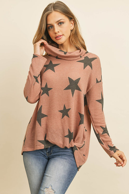 Star Print Cowl Neckline Long Sleeved Front Knot Tunic