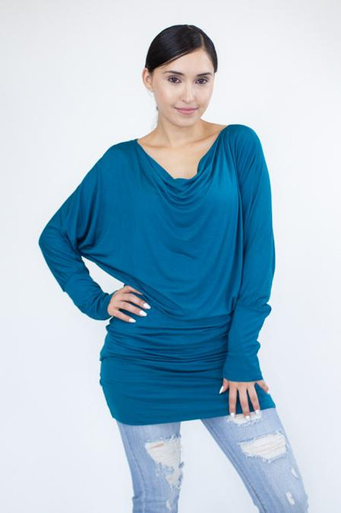 Cowl Neck Long Sleeve Solid Top - Jade