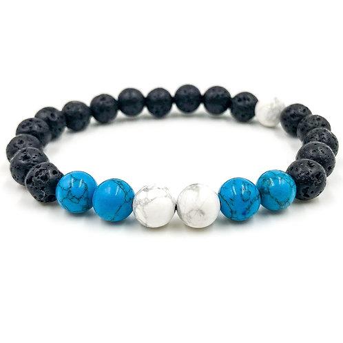 Central | White Howlite - Turquoise Howlite - Lava Rock  7- 9 inch wrist