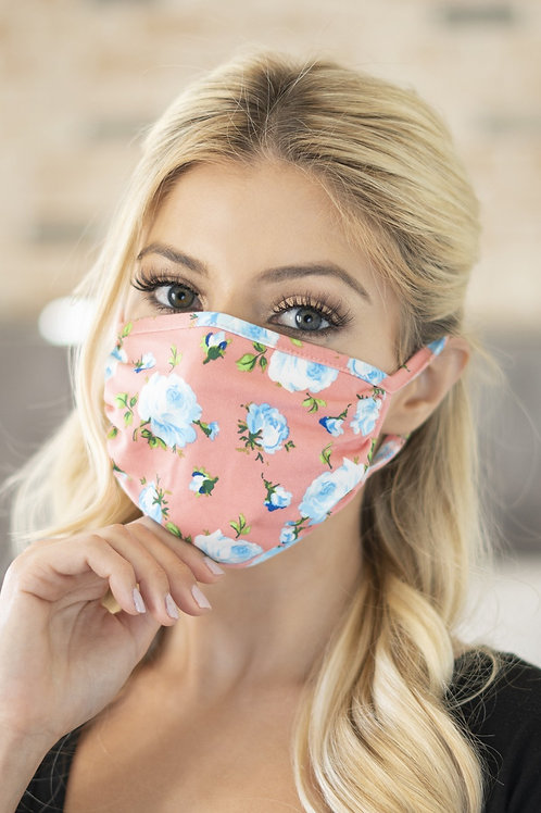 Rfm6002-Rfl035-Blk-Rd-Gen- Floral Reusable Face Mask for Adults