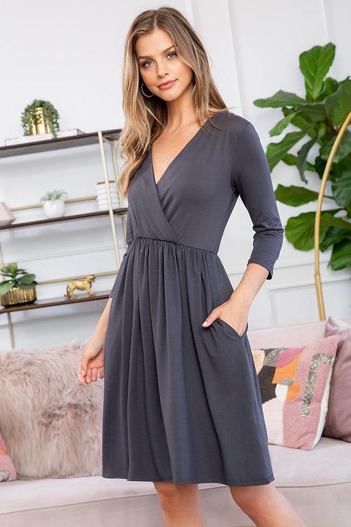 Solid 3/4 Wrap Surplice Midi Dress